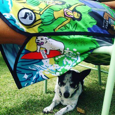 ペッパーボードショーツと子犬